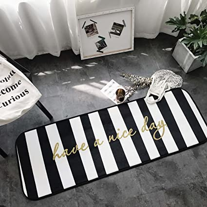 Home And Kitchen Rugs Door Mat Black And White Striped Non Slip Skip Runner Decorative Entrance Floor Carpet For Bathroom Bedroom Have A Nice Day