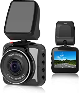"OSBOO Car Dash Cam, Mini Dashboard Camera, 2"" Screen FHD 1080P Driving Recorder, Novatek Chipset, Sony Sensor, F1.8 Super Big Aperture, 140 Degree Wide Angle, Night Vision, G-Sensor, Loop Recording"