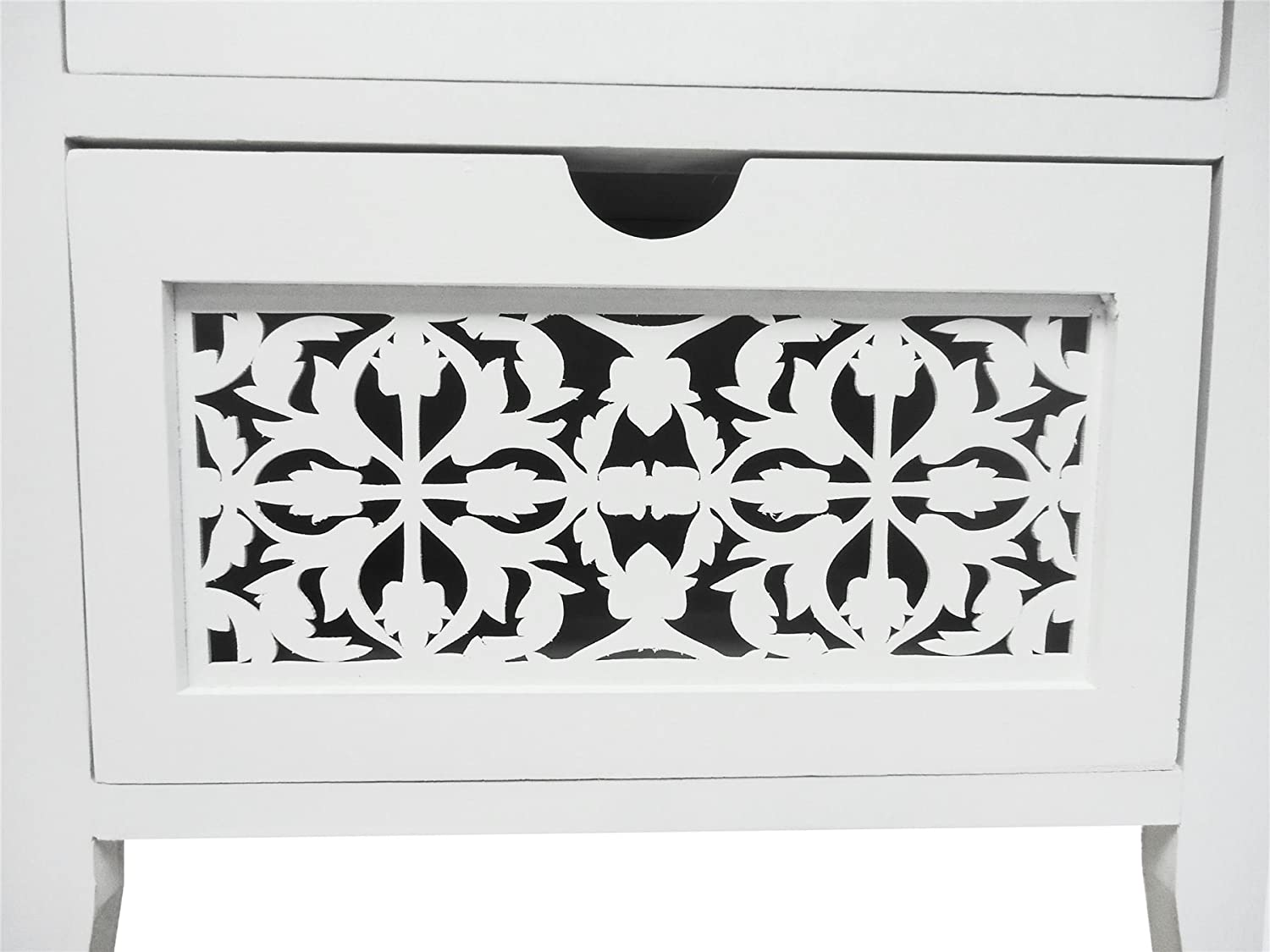 topfurnishing Assembled Shabby Chic White Wider Flowers/leaves 4 Chest Of Drawer Bedside Table Halway Livingroom Storage Unit Cabinet(40x30x86cm)