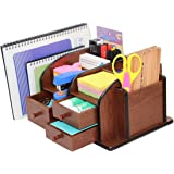 PAG Office Supplies Wood Desk Organizer Pen Mail Holder Accessories Storage Caddy with 3 Drawers, 10 Compartments, Brown