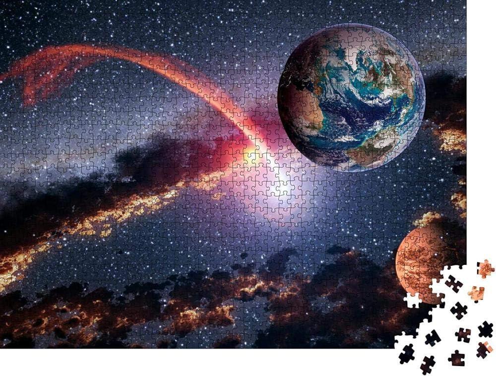 QBTE Puzzle 1000 Piezas Espacio Planeta Tierra Marte meteorito Cometa asteroide astrología Sistema Solar Universo