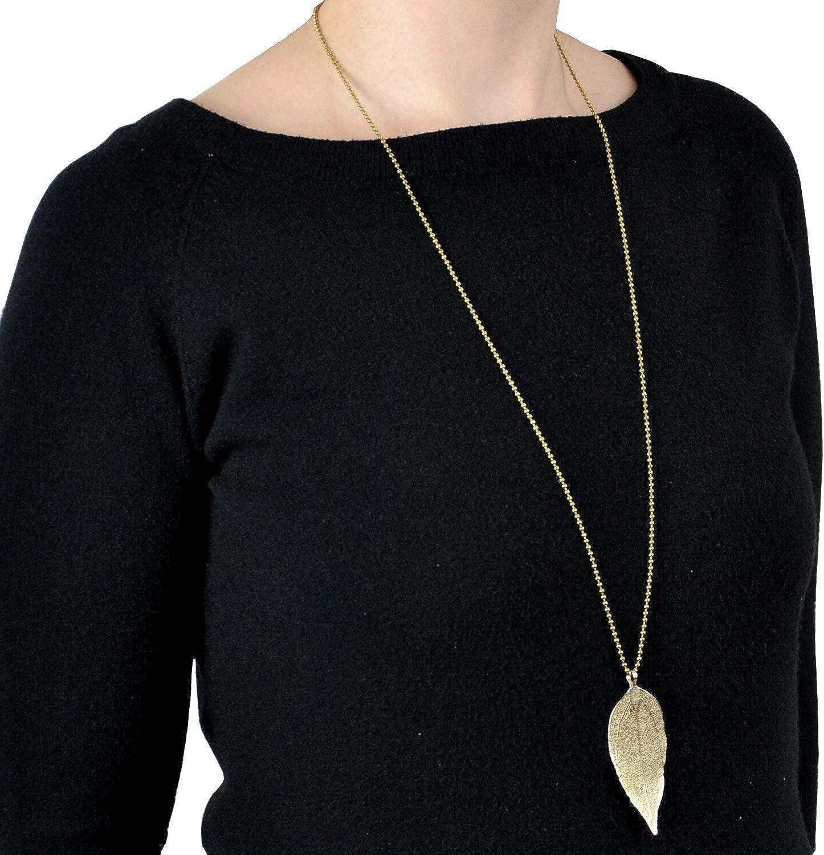 Simple Hoja De Oro Cadena Collar Largo Ajustable De Plumas Reino Unido