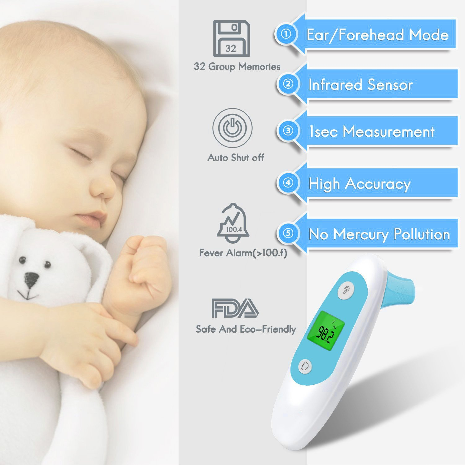 Toddler and Adults with FDA and CE Approved Infrared Digital Thermometer for Baby Infant 2018 Upgraded Meyoung Medical Forehead and Ear Thermometer for Fever Baby Thermometer