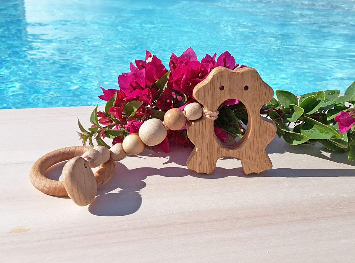 Wood baby teether frog Baby teether toy organic Wooden teether toy for toddlers Eco-toy