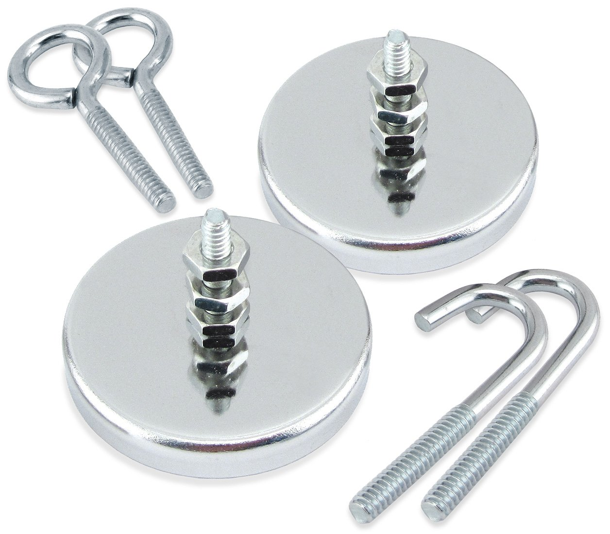 Master Magnetics RB50KITBX2 Ferrite/Low Carbon Steel Round Base Magnet Fastener with Bolt, Hook and Eyebolt, Chrome Plate, 2.04'' Diameter, 0.315'' Thick, 35 lb. (Pack of 2)