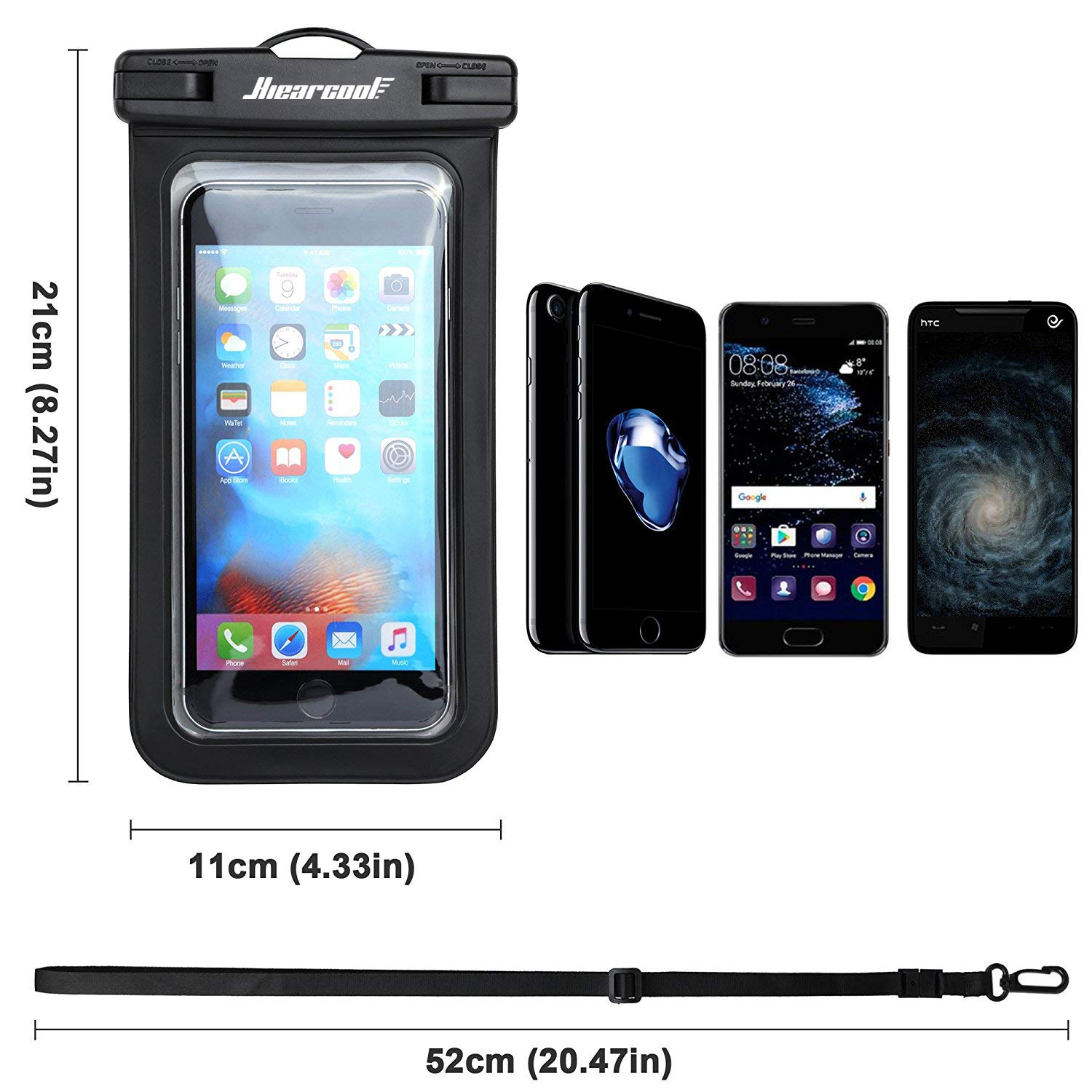 Universal Waterproof Case - Ansot IPX8 Waterproof Phone Pouch - Cellphone Dry Bag for iPhone X/8/ 8plus/7/7plus/6s/6/6s Plus Samsung Galaxy s8/s7 Google Pixel 2 HTC LG Sony Moto up to 7.0'' - 2 Pack by Hiearcool (Image #3)