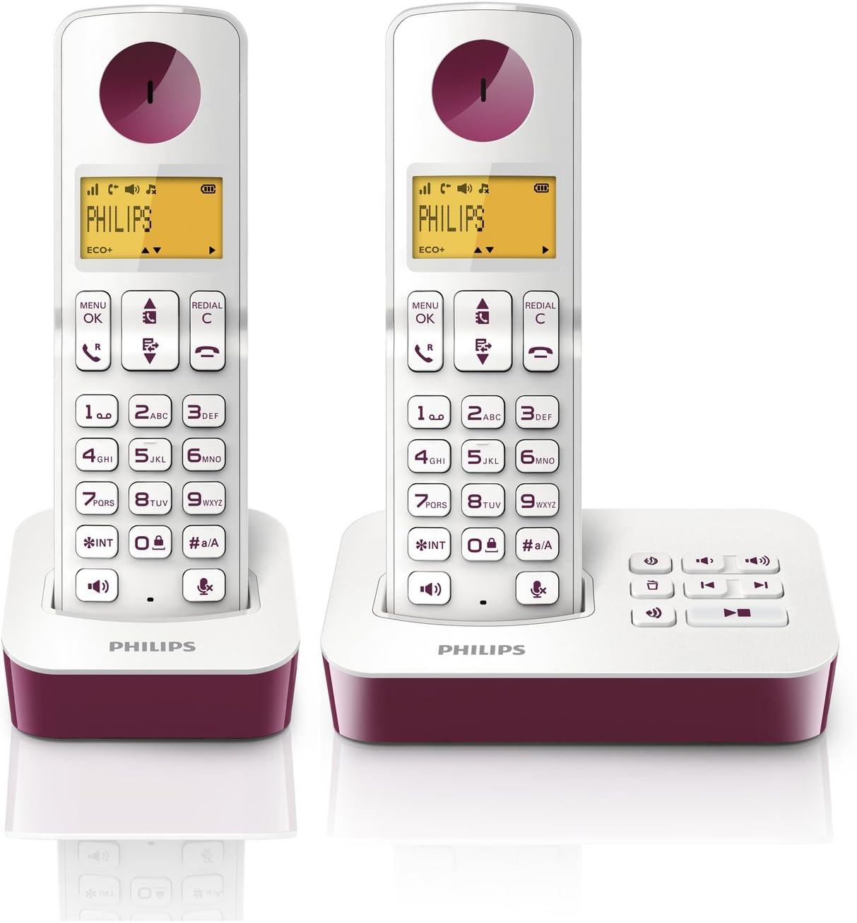 Philips D205 DUO - Pack de 2 teléfonos fijos inalámbricos (manos libres, sistema de grabación), morado: Amazon.es: Electrónica