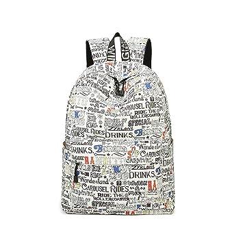 Meaningg señoras mochila impermeable geometría y árbol patrones Impresión de moda femenino viajes mochilas para la escuela Beige 14 pulgadas: Amazon.es: ...