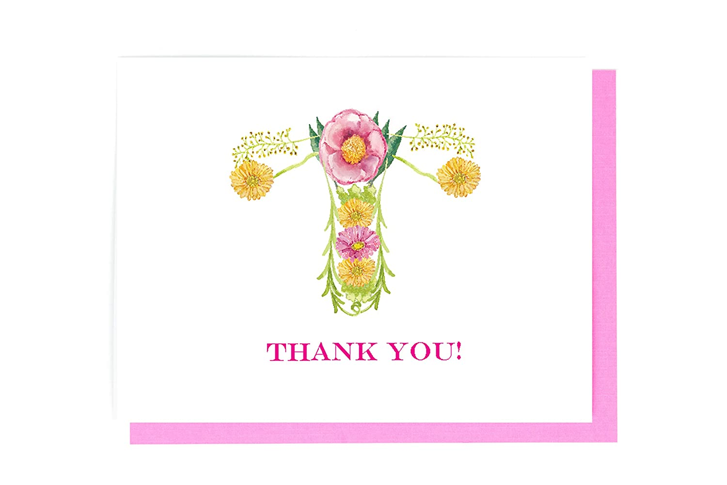 Uterus Anatomy OBGYN Midwife Medical Doctor Nurse Thank You Card