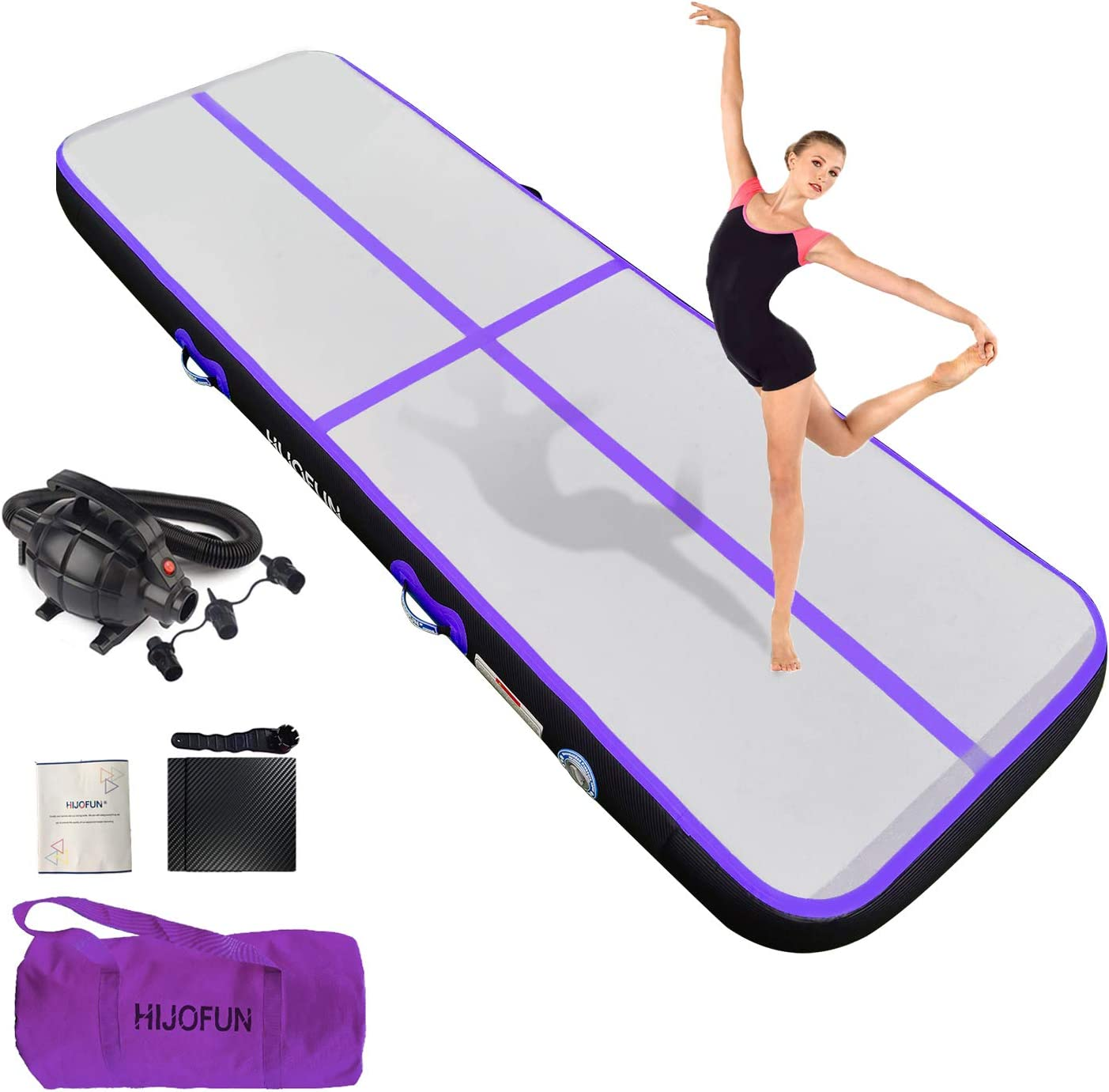 HIJOFUN Premium Inflatable Air Tumbling Track for Gymnastics Tumble Mat 10ft 13ft 16ft 20ft 4 in 8 inces Thick with Electric Air Pump for Home Kids/Gym/Yoga/Training/Cheerleading/Outdoor/Pool/Beach