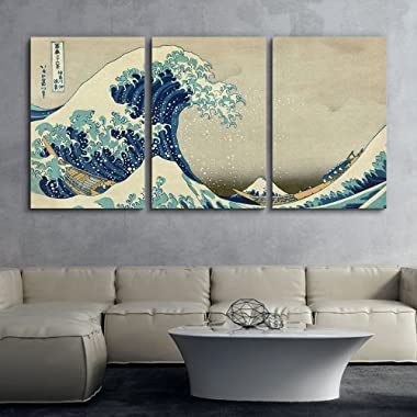 wall26 3 Panel World Famous Painting Reproduction on Canvas Wall Art - The Great Wave Off Kanagawa by Hokusai - Modern Home Decor Ready to Hang - 24 x36  x 3 Panels