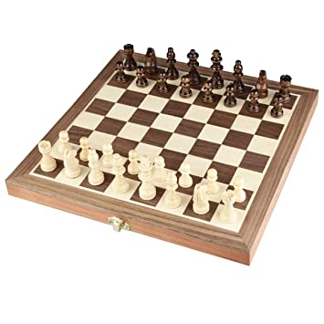 SST Folding Wooden Chess Game Board Set with Crafted Pieces From Sports (Colour May Vary)