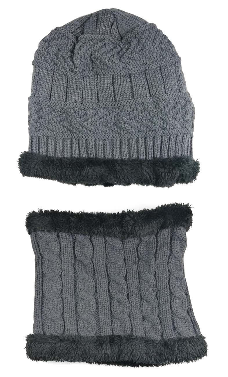 Winter Beanie Scarf for Boys Girls (5-14 Years) Warm Snow Knit Hats Windproof HINDAWI Circle Scarf Kids Slouchy Skull Cap Grey by HindaWi (Image #2)