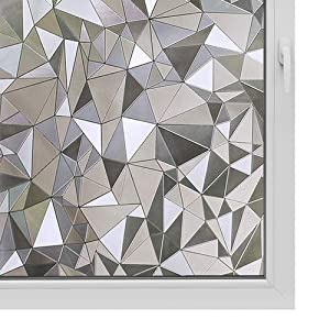 Window Film Non Adhesive Frosted Film Privacy Window Sticker Self Static Cling Vinly Glass Film Anti UV Decorative for Home Office Triangle 35.4 Inch x 13.1 Feet