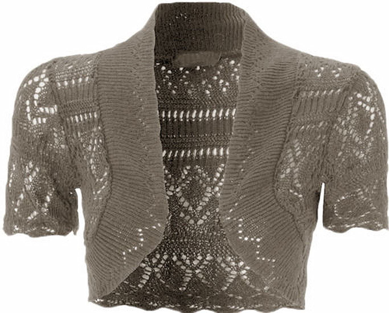 4e45dcc4f80 Womens Knitted Bolero Shrug Short Sleeve Crochet Shrug (Mocha) at Amazon  Women s Clothing store