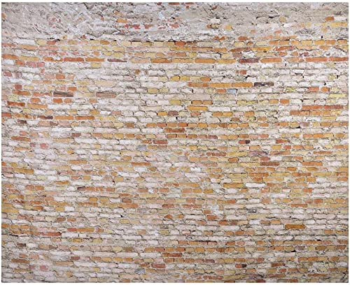 Msliy Brick Wall Stone Tapestry Polyester Fabric Brick Wall Theme Tapestry Hanging for Bedroom Living Room Dorm Brown,90x70inches