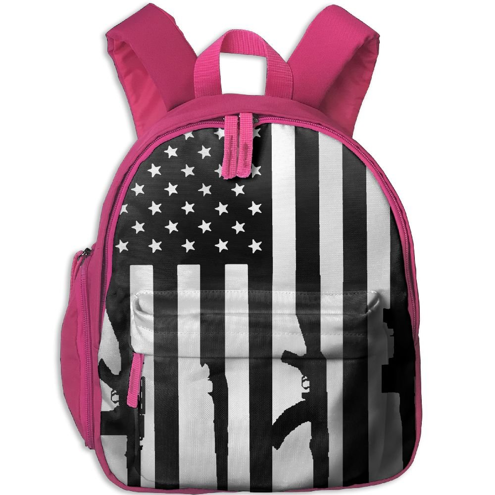 cheap Outdoor Gun American Flag Kids Snack Backpack School Book Bags Daypack Gift For Toddler Teen Boys Girls