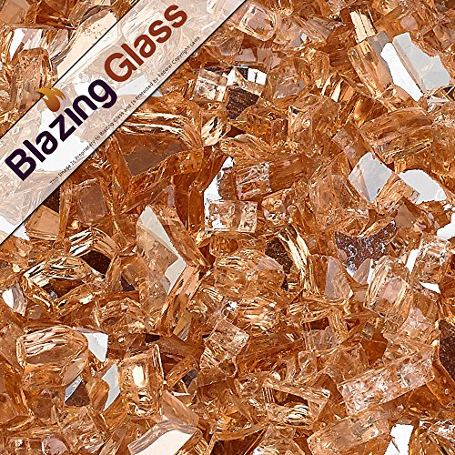 Blazing Fireglass 10-Pound Reflective Fire Glass with Fireplace Glass and Fire Pit Glass, 1/4-Inch, Champagne (Fireplace Glass compare prices)
