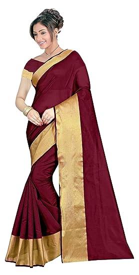 2305ccaf9e7787 The Shopoholic Dark Red Cotton Silk Saree For Women  Amazon.in ...