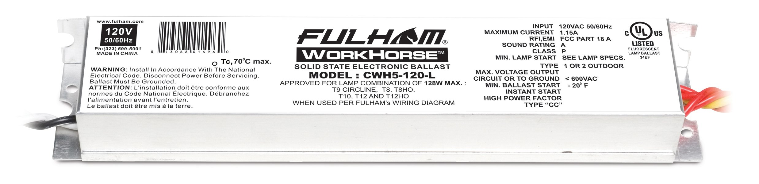 Fulham Lighting CWH5-120-L Canada Series-Workhorse 5-120V-Linear Model with Side Leads