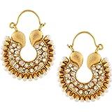 Adiva Kundans Chand Bali White Metal Alloy Hoop Ear Rings For Women