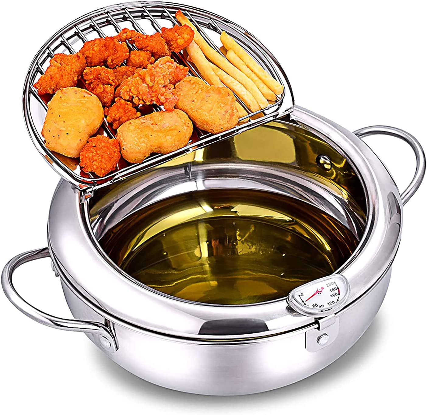 KIDYBELL Deep Fryer Pan 304 Stainless Steel Tempura Frying Pot Japanese Style Fryer With Thermometer,Lid and Oil Drip Rack(24cm/9.4inch)