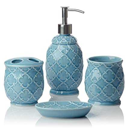 Comfify Bathroom Designer 4 Piece Ceramic Bath Accessory Set   Includes  Liquid Soap Or Lotion