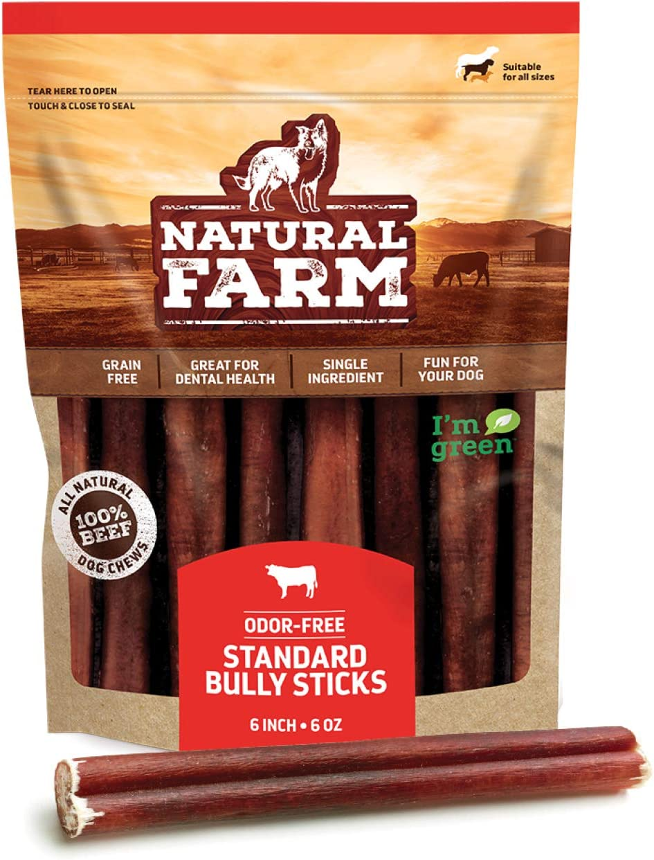 Natural Farm Bully Sticks - Odor-Free, 6-Inch Long, Packaged by Weight: 6 Ounces (0.38 Lbs.) - 100% Beef Chews, Grass-Fed, Fully Digestible Treats to Keep Your Puppies, Small and Medium Dogs Busy