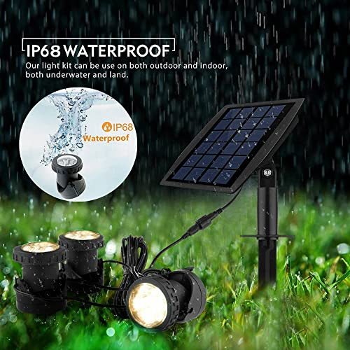 Solar Pond Spotlights,Submersible Pond Lights with 3 Lamps 18 LEDs Landscape Spotlight Underwater Lights IP68 Waterproof solar Lights for Pond,Garden,Landscape,Fountain,Outdoor,Lawn Warm White