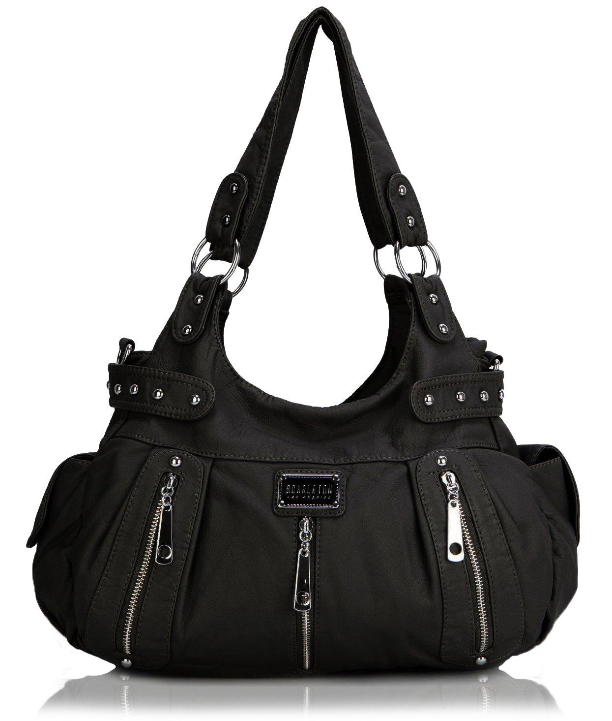 Scarleton 3 Front Zipper Washed Shoulder Bag H129201 - Black