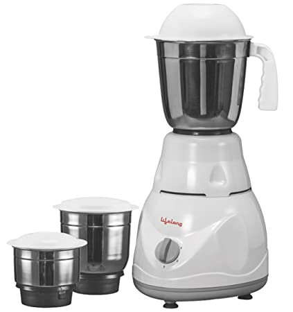 (Certified REFURBISHED) Lifelong Power Pro 500-Watt Mixer Grinder with 3 Jars (White/Grey)