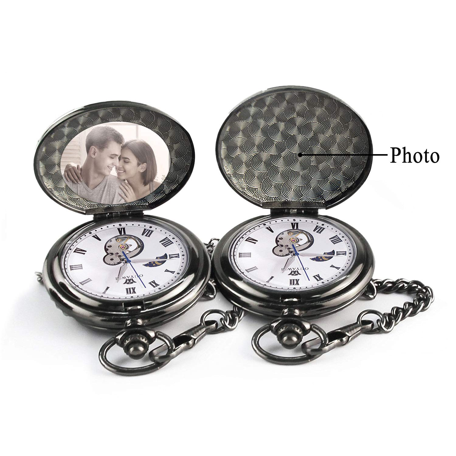 Mens Engraved Gifts for Valentine's Day, Anniversary Birthday Graduation Christmas Personalized Mechanical Pocket Watch with Gift Box (The Day I met You) by Ginasy (Image #3)