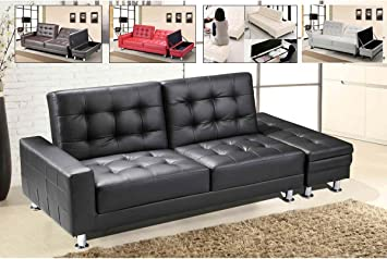 3 Seater Faux Leather Sofa Bed Futon Small Double Size Multi Colours (Black  SF13004 D01): Amazon.co.uk: Kitchen U0026 Home