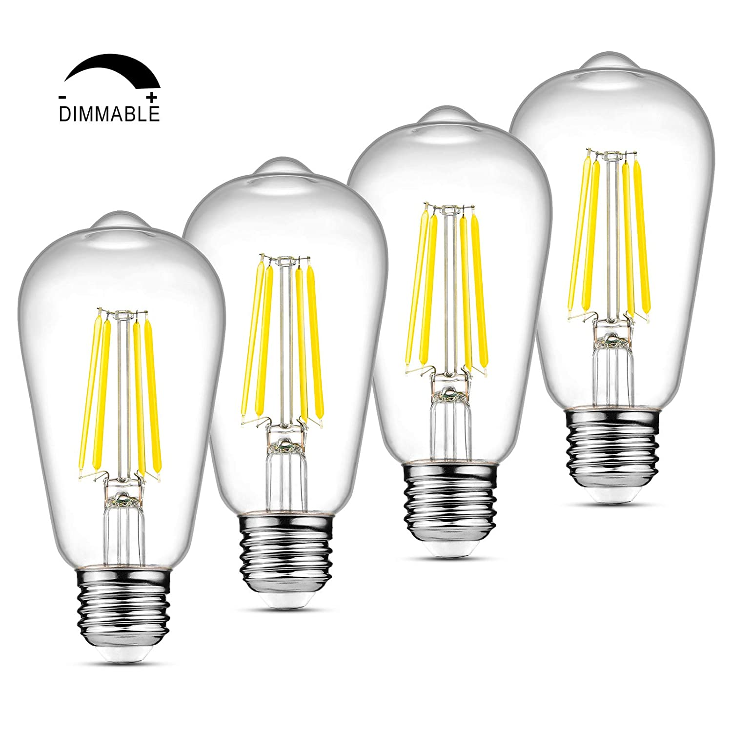 Ascher LED Edison Bulbs 6W High Brightness Daylight White 4000K 700 Lumens Non-Dimmable E26 Base Equivalent 60W Clear Glass ST58 Vintage LED Filament Bulbs 4 Packs