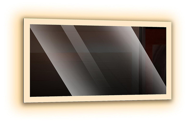 Badspiegel mit LED - Beleuchtung, Wandspiegel, Badezimmerspiegel - rundherum beleuchtet durch satinierte Lichtflächen, Design LED Spiegel für Badezimmer, Farbe  Weiß - Warmweiß, Größe  Breite 50 cm x Höhe 40 cm