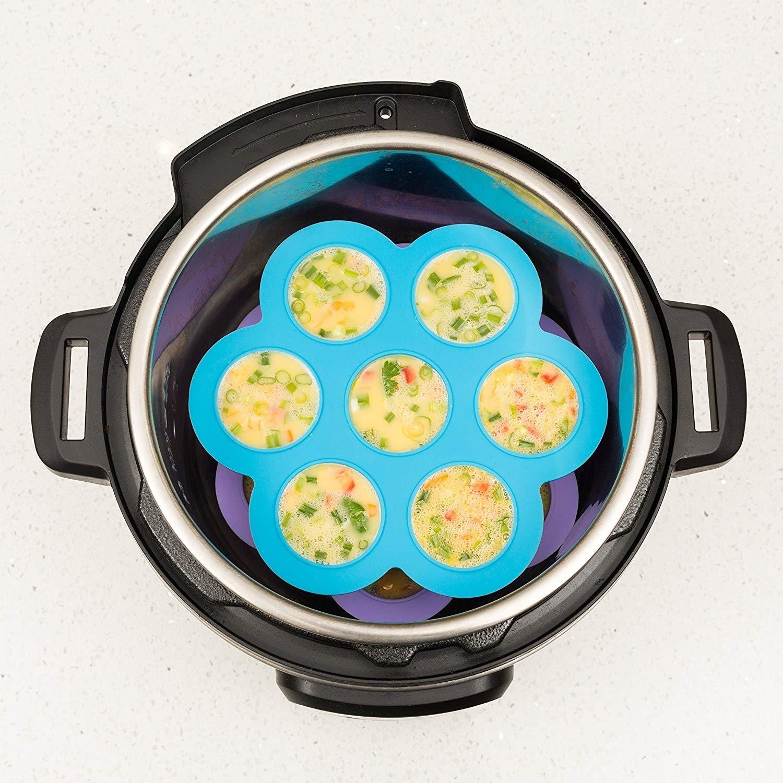 Convient pour les autocuiseurs /électriques de 5 Silicone Egg Bites Molds Accessoires pour autocuiseurs Inserts de Sensible Needs accessoires de co Paquet de 2 YOZOOE Pochoirs /à gateaux 6 et 8 qt
