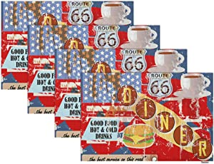 Swono Dinner Sign Placemat Set of 4,Vintage Dinner Sign with Food and Drink Lettering in Retro Design Style Place Mats Home Decoration for Dinner Table Waterproof Kitchen Table Mats 12
