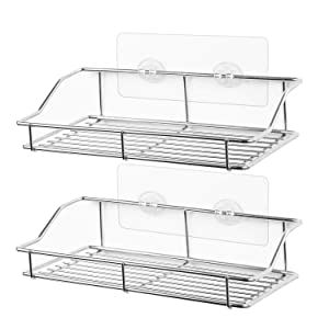 SMARTAKE 2-Pack Shower Caddy, Adhesive Bathroom Shelf Wall Mounted, No Drilling Strong Shower Caddies Kitchen Racks - Stainless Steel Storage Organizers (9.9 Inch)