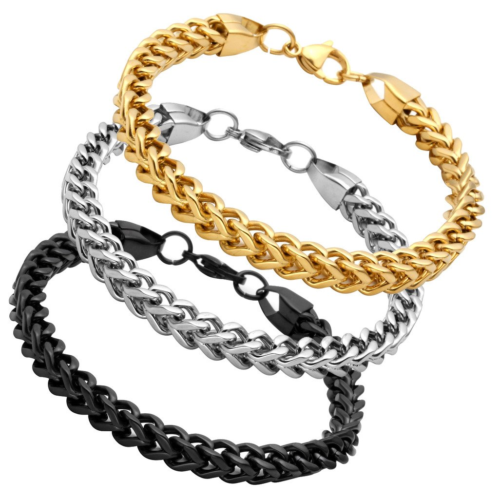 Jusnova Stainless Steel Franco Chain Bracelet for Men Women 6mm Wide 8 Inches 3 Colors Set Black Gold Silver