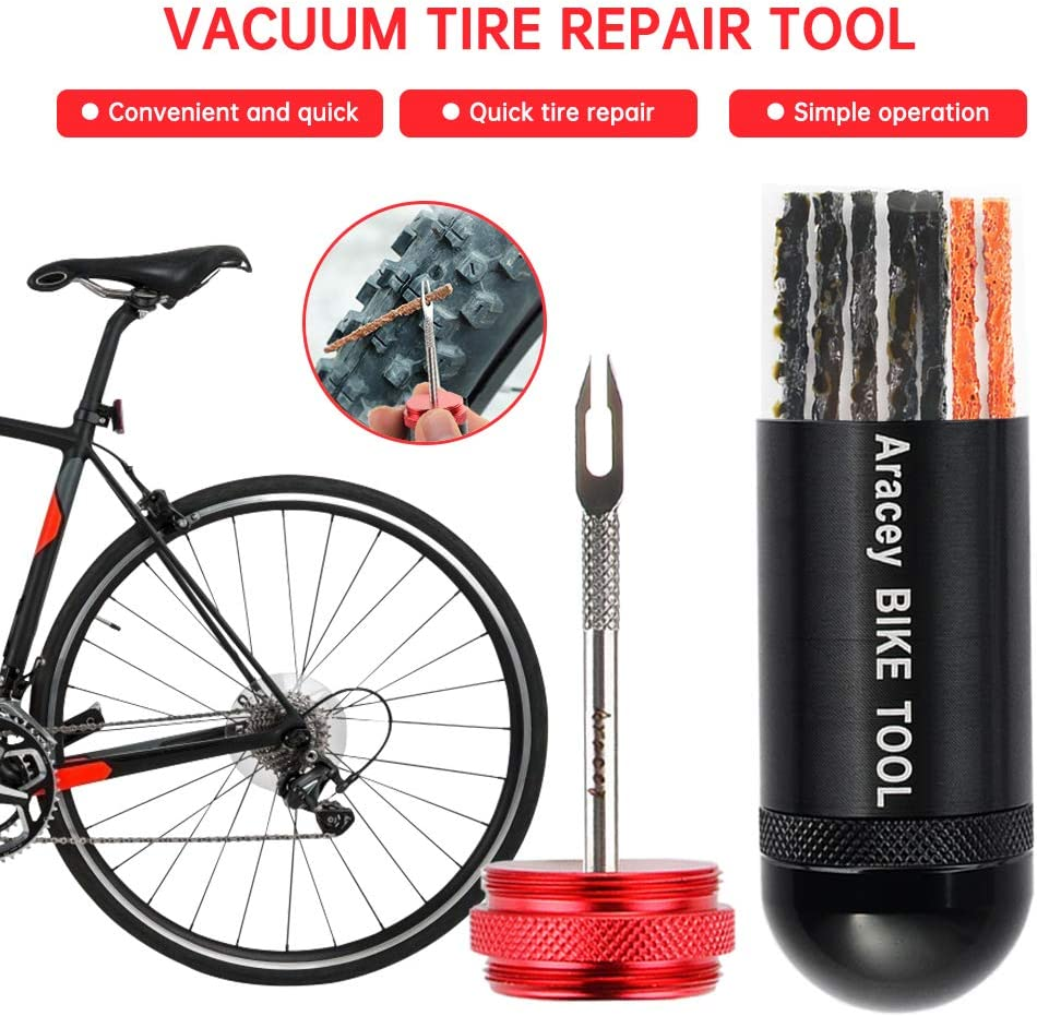 20Pcs Tire Plugs Aracey Tubeless Bicycle Tire Repair Kit Mountain Bikes Portable Capsule Appearance Cycling Tire Repair Kit Storage Tube Combined Ream