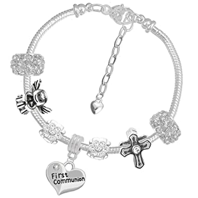 99a9ca6f6c19a1 Amazon.com: First Holy CommunionSparkly Crystal Charm Bracelet and ...