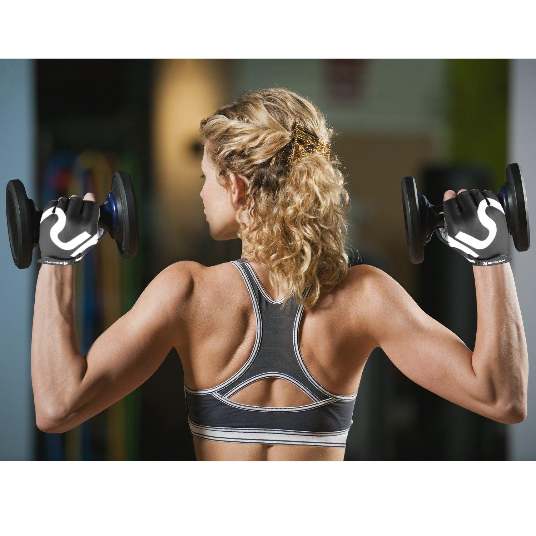 HiCool - Guantes de medio dedo para deportes resistente a la abrasión (Levantamiento de Pesas, Fitness, Cross Training, Ciclismo) , Medio: Amazon.es: ...
