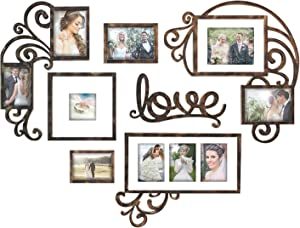 Jerry & Maggie - Photo Frame | Plaque College Frame - Valentine Wall Decoration Combination - Brown PVC Picture Frame Selfie Gallery Collage W Wall Hanging Mounting Design | Love Heart Shape