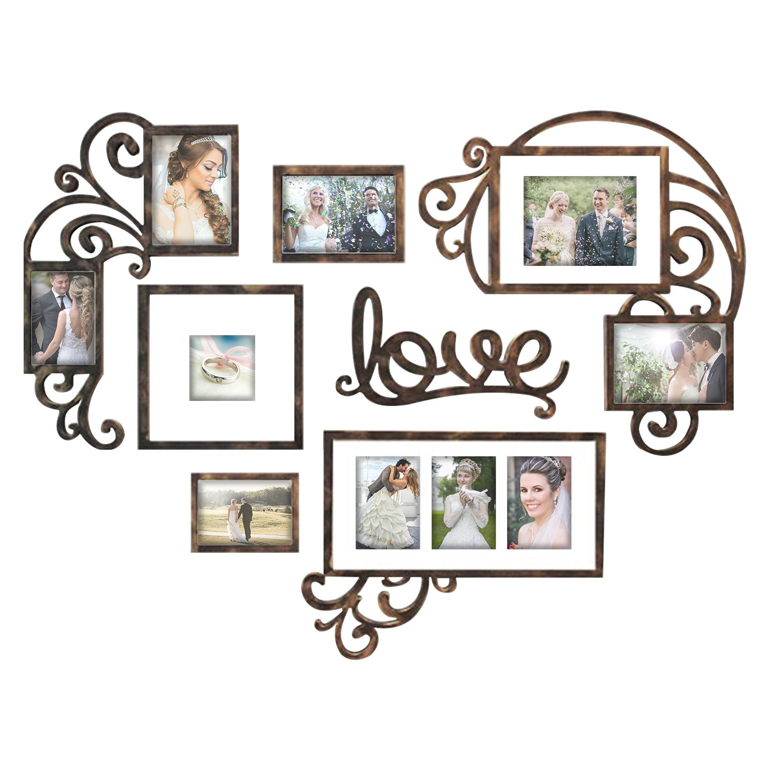 Jerry & Maggie - Photo Frame | Plaque College Frame - Valentine Wall Decoration Combination - Brown PVC Picture Frame Selfie Gallery Collage W Wall Hanging Mounting Design | Love Heart Shape by Jerry & Maggie