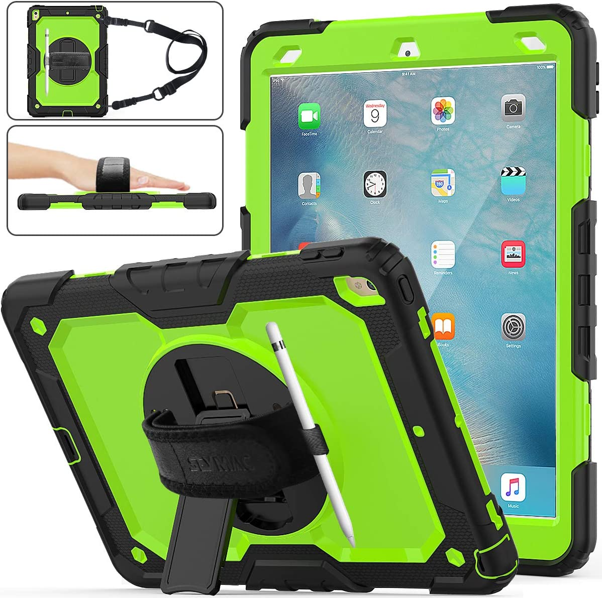 "iPad Air 3 Case 2019, SEYMAC Stock [Full-Body] Drop Proof &Shockproof Armor Case with 360 Rotating Stand [Pencil Holder] Hand Strap for iPad Air 3 10.5"" 2019/iPad Pro 10.5"" 2017(Green+Black)"