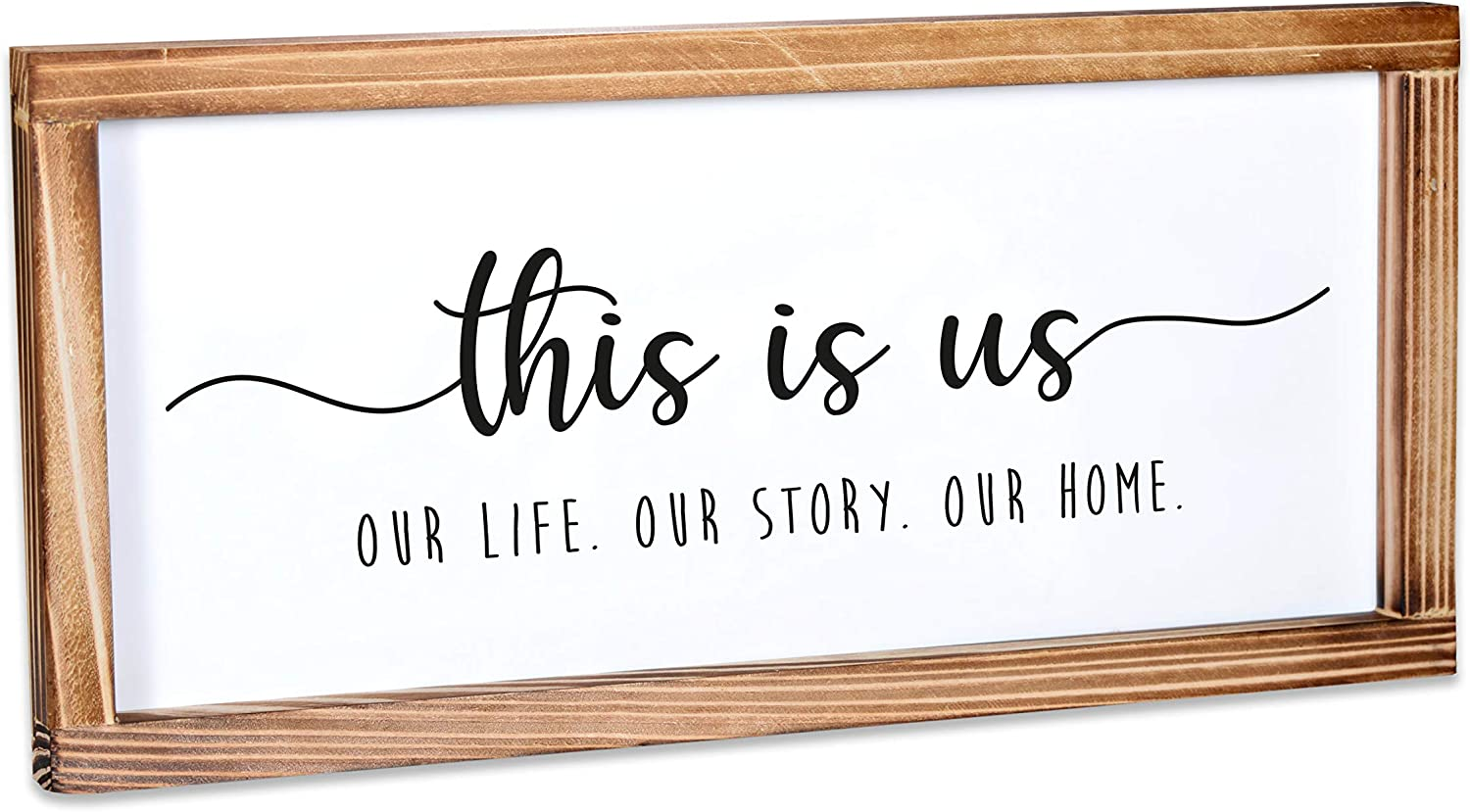 This Is Us Sign - Rustic Farmhouse Decor For The Home Sign - Wall Decorations For Living Room, Modern Farmhouse Wall Decor, Rustic Home Decor, Cute Room Decor With Solid Wood Frame - 8x17 Inch