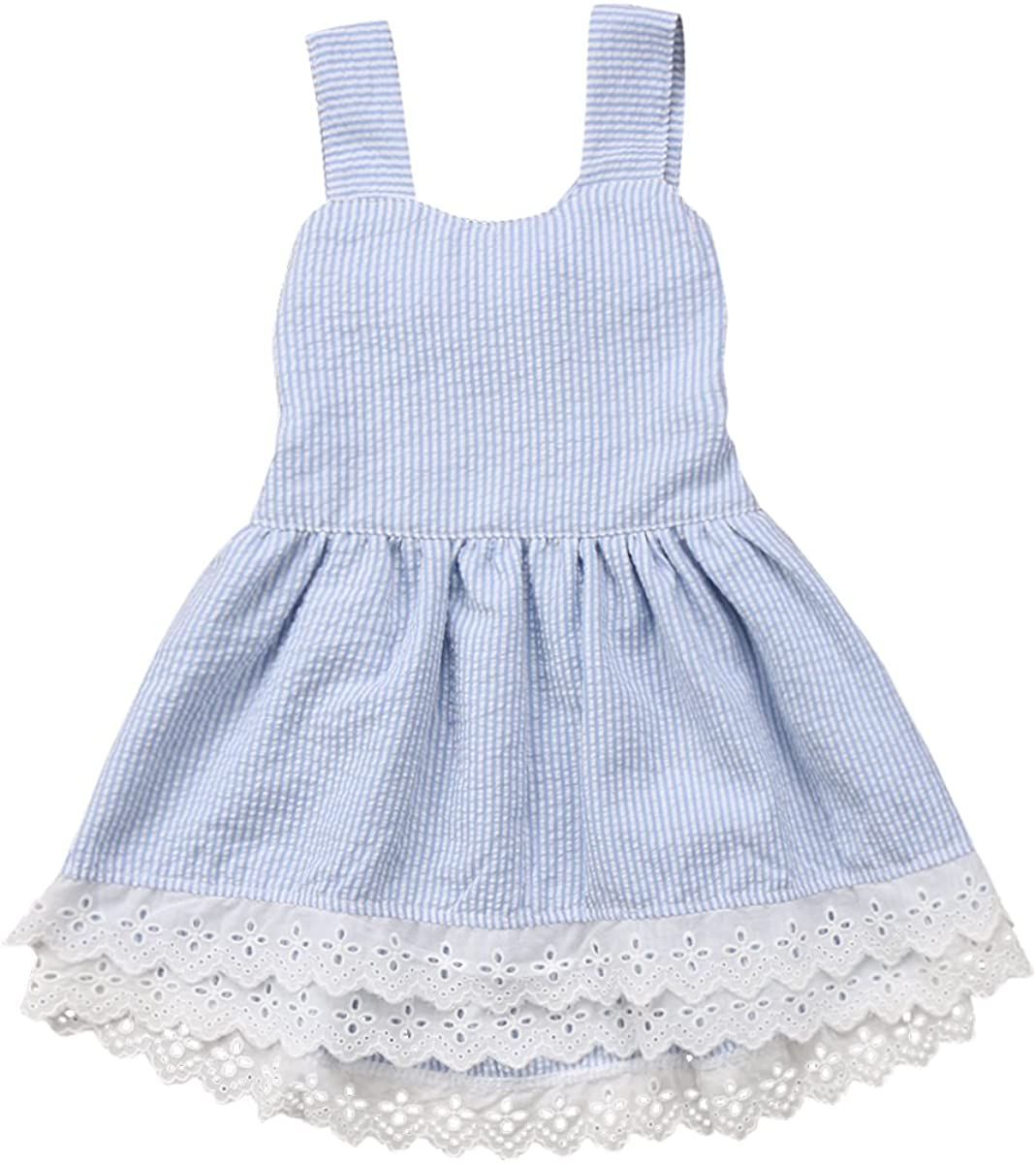 gllive Baby Girls Summer Dress Sleeveless Backless Blue Stripe Bow Lace Dresses Outfit