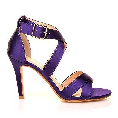 Sophie Purple Satin Elegant Strappy Bridal High Heel Sandals  Amazon ... 4be6b098744f