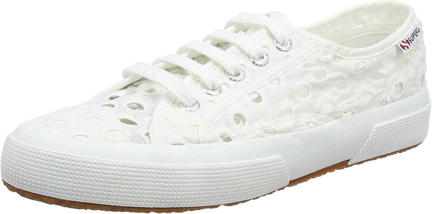 Superga 2750 Embroiderycottonw White Womens Canvas Embroidered Low-top Trainers