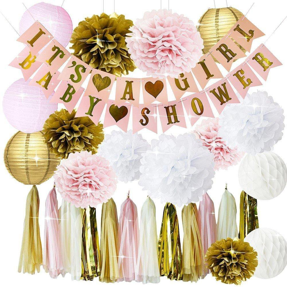 PartyPlanet Pink and Gold Baby Shower Decorations for Girl, Pink and Gold Baby Shower Favors, It's a Girl Banner, Paper Lanterns, Honeycomb, Tassels, Pom Poms, Nursery Room Decor